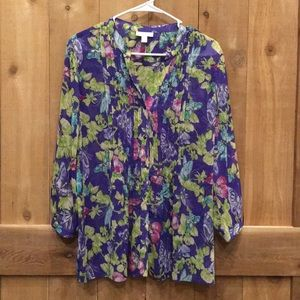 Charter Club Butterfly Blouse Size Large EUC